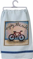 "28"" Square Multicolored Enjoy The Ride Bike Kitchen Towel"