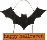 """10"""" Happy Halloween Bat Wall Plaque"""