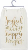"28"" Square White and Gold Joyful Kitchen Towel"