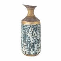 """11"""" Blue, White and Gold Tribal Vase"""