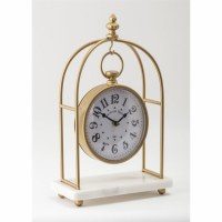 "15"" Gold and White Marble Suspended Clock"