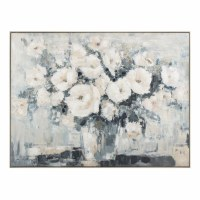 """36"""" x 48"""" White and Blue Flowers In Vase Framed Canvas"""