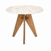"22"" Round White Marble Table With 3 Legs"