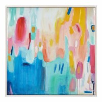 """49"""" Square Multicolored Abstract Framed Canvas"""