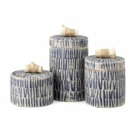 Set of 3 Blue and White Line Ceramic Jars