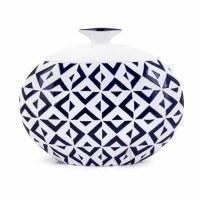 """14"""" Navy and White Pattern Ceramic Vase"""