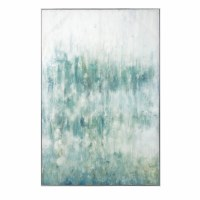 """60"""" x 40"""" Aqua and White Abstract Framed Canvas"""