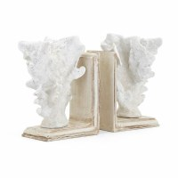 "8"" Distressed White Finish Base With White Faux Coral Bookends"