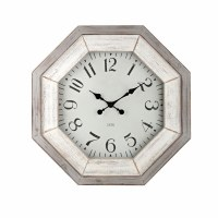 "28"" Distressed White and Gray Finish Octagonal Clock"
