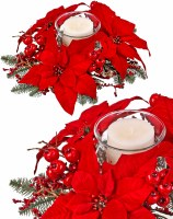 "16"" Red Poinsettia Pine Votive Candle Centerpiece"