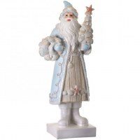 "15"" Light Blue and White Polyresin Santa With Shells"
