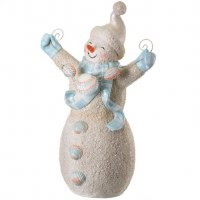 "9"" Light Blue and White Sand Snowman With Shells"