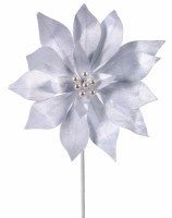 """20"""" White Poinsettia With Pearls"""