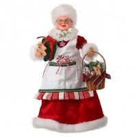 "16"" Red and White Mrs. Claus With Basket"