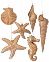 Box of 6 Gold Sealife Ornaments