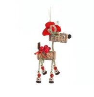 "5"" Cork Deer Ornament With Berries"