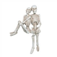 "11"" Distressed White Finish Polyresin Skeleton Couple"