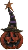 "14"" Wooden Pumpkin With Big Hat"