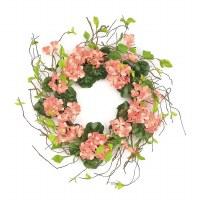 """24"""" Coral Geranium Wreath"""