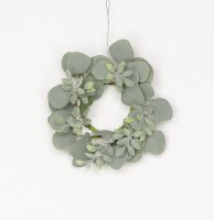 """3"""" Gray Eucalyptus Leaf Candle Ring"""