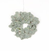 """6"""" Gray Eucalyptus Leaf Candle Ring"""