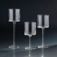 """Set of 3 12"""", 10"""", 8"""" Clear Stemmed Votive Candle Holders"""
