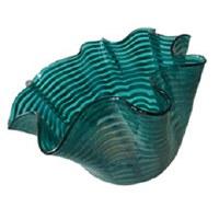 "13"" Green Stripe Ruffle Glass Bowl"