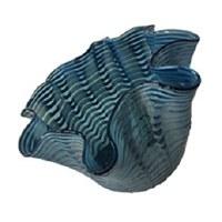 "13"" Blue Stripe Ruffle Glass Bowl"