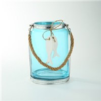 """8"""" Blue Lantern With Rope Handle"""