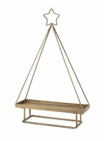 "19"" Distressed Gold Finish Tree Shape Display"