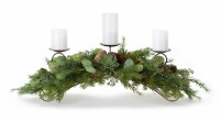 "34"" 3 Pillar Candle Pine, Eucalyptus and Succulent Centerpiece"