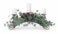 """30"""" 3 Pillar Candle Pine and Eucalyptus Centerpiece"""