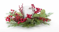 """15"""" Round Pine Berry and Eucalyptus Glass Candle Holder"""