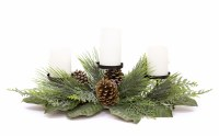 """29"""" 3 Pillar Candle Pine and Magnolia Leaf Centerpiece"""