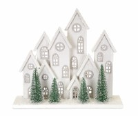 "17"" LED 8 White Winter Houses"