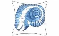 "20"" Square White and Blue Nautilus Pillow"
