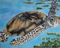 "8"" x 10"" Turtle Swimming Tile"