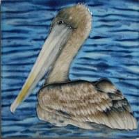"8"" Square Pelican In The Ocean Tile"