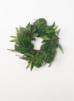 """6.5"""" Tropical Leaf With Sticks Candle Ring"""