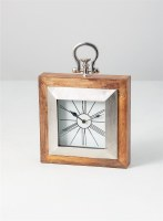 "10"" Square Brown Wooden and Silver Clock"