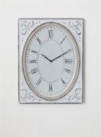 "33"" x 25"" Distressed White Finish Rectangle Frame With Oval Clock"