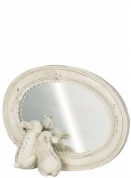 """6.5"""" Distressed White Finish Bunnies With Mirror"""