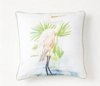 "17"" Square White Egret Pillow"