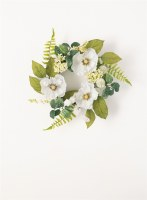 """6.5"""" Faux White Poppy Candle Ring"""