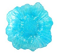 "18"" Round Blue Ruff Glass Bowl"