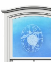 "5"" Oval Turtle White Window Cling"