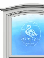 "5"" Oval Flamingo White Window Cling"