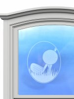 "5"" Oval Golf White Window Cling"