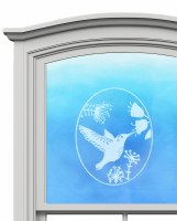 "5"" Oval Humming Bird White Window Cling"