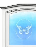 "5"" Oval Butterfly White Window Cling"